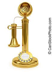 Golden retro-styled telephone on white background. High...