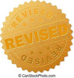 Golden REVISED Medal Stamp - REVISED gold stamp award. ...