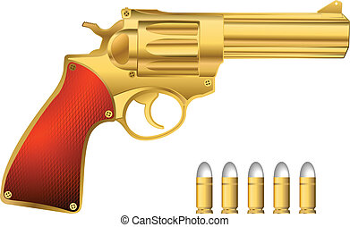 Golden revolver and bullets, isolated objects over white...