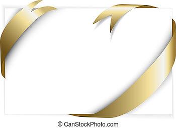 Golden ribbon around white paper (where you should write ...