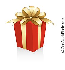Golden Ribbon Bow Gift Box