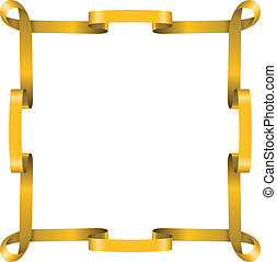 Golden ribbon frame isolated on white background.