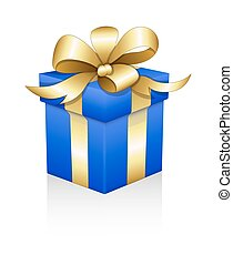 Golden Ribbon Wrapped Gift Box