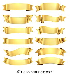 Golden ribbons. Congratulations banner element, yellow gift decorative shape, gold advertising scroll. Vector realistic ribbon