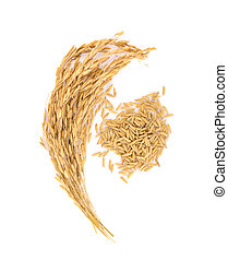 Golden rice isolated on white background, top view