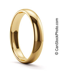 3d render of golden ring isolated on white background