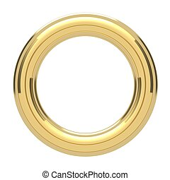 Golden ring copyspace torus isolated on white