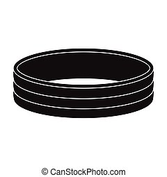 Golden ring icon in black style isolated on white background. Jewelry and accessories symbol stock vector illustration.