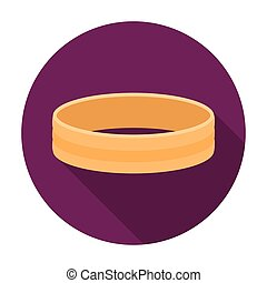 Golden ring icon in flat style isolated on white background. Jewelry and accessories symbol stock vector illustration.
