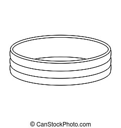 Golden ring icon in outline style isolated on white background. Jewelry and accessories symbol stock vector illustration.