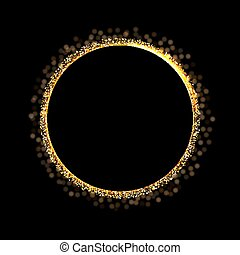 89c89a8864a Golden ring on black background. Vector golden circle frame with glitter. Luxury  frame for