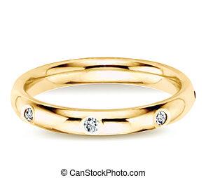 Golden ring with diamonds. Vector illustration - Golden ring...