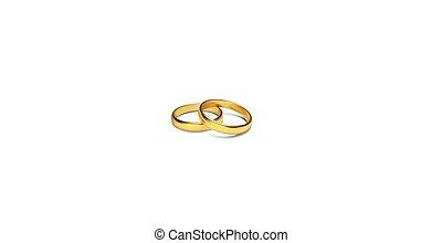 Golden rings isolated on white background Vector Illustration