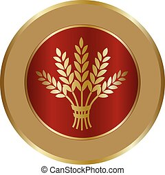 Golden ripe wheat sheaf in circle on red background.