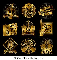 Golden rock and roll music vector labels on black background...