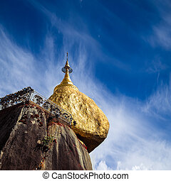 Golden Rock, sacred Buddhist place in Kyaiktiyo, Myanmar (Burma)