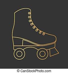 golden roller skates icon- vector illustration