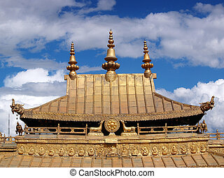 Golden roof Potala palace Lhasa Tibet - Golden roof...