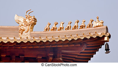 Golden  Roof Top Figurines Jing An Temple Shanghai China