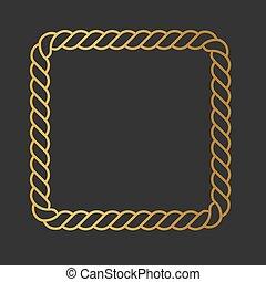 golden rope square frame icon- vector illustration