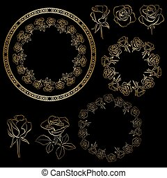 golden roses and frames of flowers - vector floral set