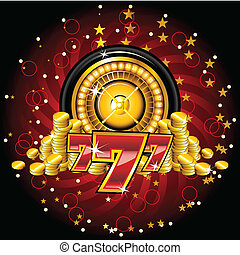 golden roulette wheel - golden roulete wheel whith coins and...