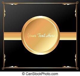 Golden Round Banner Vector