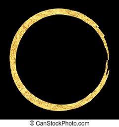 Golden round frame element.