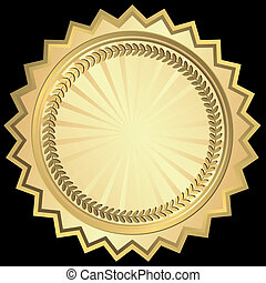 Golden round frame (vector)