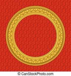 Golden round picture frame
