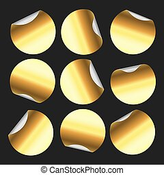 Golden round sticker. Circle stickers, gold circular label badge and golden price tag emblem isolated vector set
