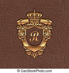 Golden royal coat of arms - Vector illustration - golden...