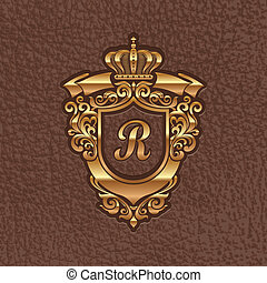 Vector illustration - golden royal coat of arms embossing on a leather