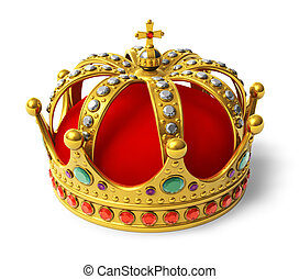 Golden royal crown isolated on white background