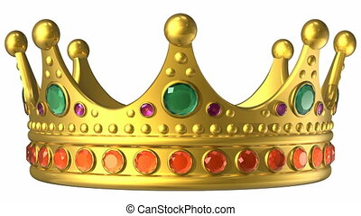 Rotating golden royal crown isolated on white background with alpha mask