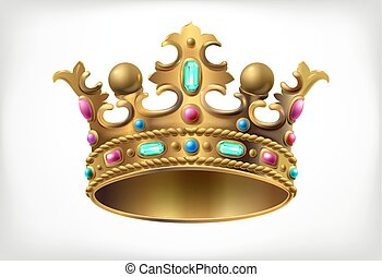 golden royal crown with multi-colored precious stones