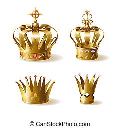 King or queen golden crowns decorated with precious gems realistic set isolated on white background. Medieval ruler ceremonial headwear, emperors monarchy power symbol illustration collection