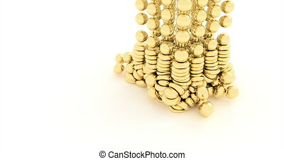 Golden rubber balls falling on a white surface