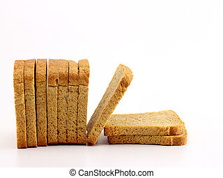 Golden rusk on white background