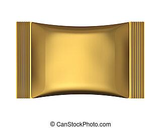 Golden sachet bag package isolated on white background