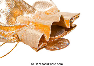 golden sack with one dollar coins inside over white