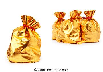 Golden sacks full of something good