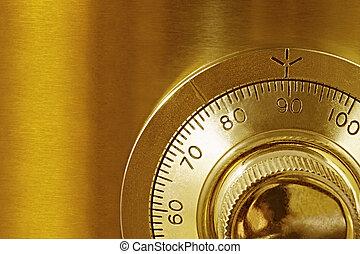 Golden Safe Lock - Golden safe lock, in close-up.