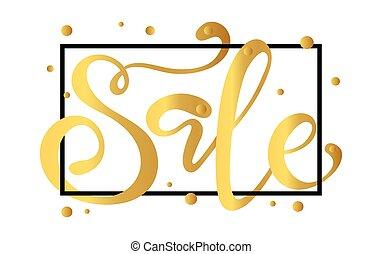 Golden SALE banner hand lettering background.