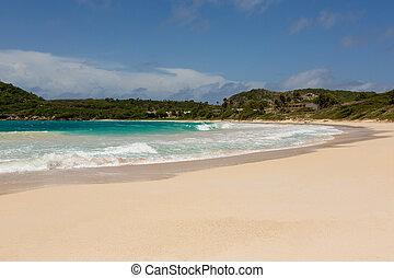 Golden Sandy Beach at Half Moon Bay Antigua - Beautiful...