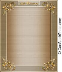 50th anniversary invitation - Golden satin-look invitation ...