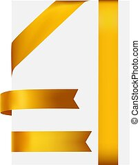 Golden satin ribbon, Isolated On White Background, Vector Illustration