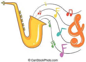 Golden saxophone and music notes in background