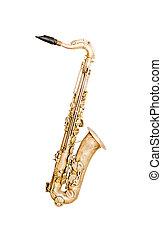 Golden saxophone - Tenor sax golden saxophone isolated on...