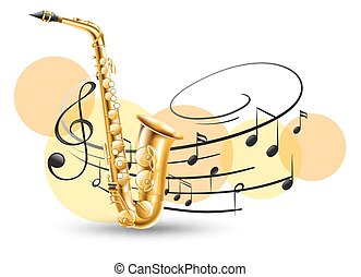 Golden saxophone with music notes in background